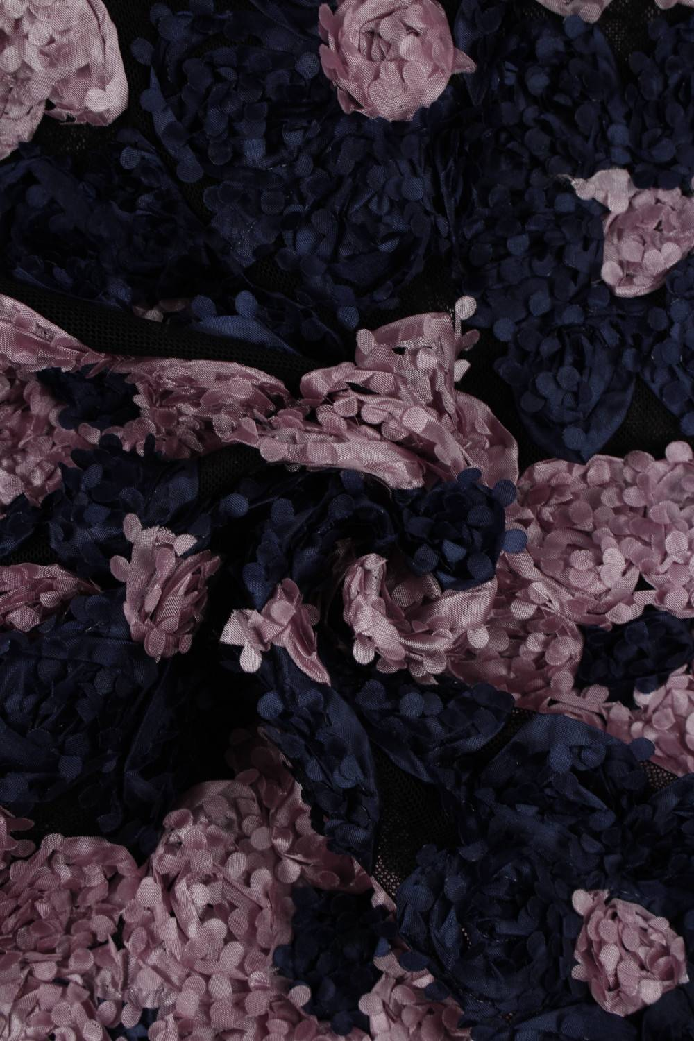 Fabric - Lace - 3D Flowers - Navy Blue & Pink Flowers - 2 rm (Pre-cut)