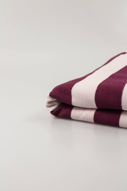 Dzianina jersey w paski - pudrowy róż - wino - 165cm 200g/