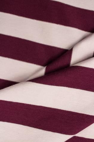 Knit - Jersey - Burgundy & Powder Pink Stripes - 165 cm - 200 g/m2 thumbnail