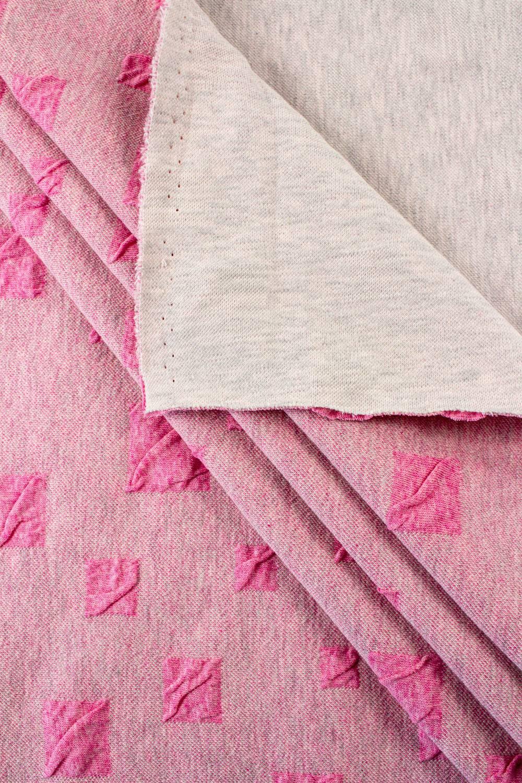 Dzianina żakardowa - różowa w kwadraty - 115cm 330g/m2