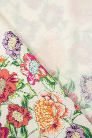 Fabric - Viscose - Ecru With Flowers And Stripes - 140 cm - 130 g/m2 thumbnail
