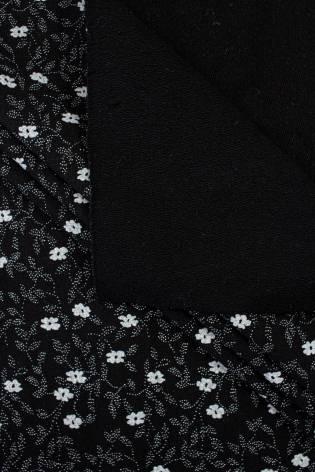 Dresówka pętelka czarna - drobne kwiatki - 185cm 280g/m2 - 1