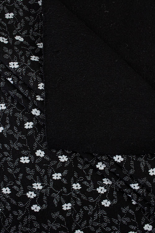 Dresówka pętelka czarna - drobne kwiatki - 185cm 280g/m2