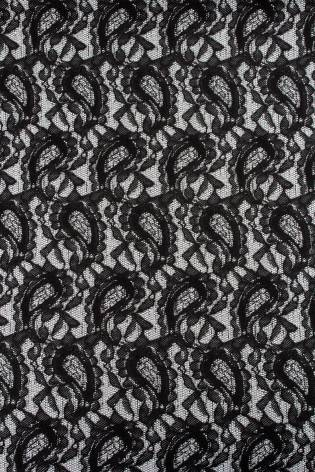 Dzianina żakardowa - szara z czarnym wzorem - 160cm 150g/m2 thumbnail