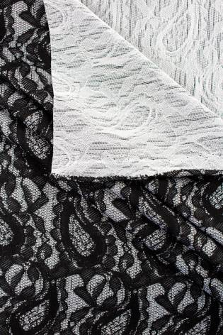 Knit - Jacquard - Grey With Teardrop Lace Imitating Pattern - 160 cm - 150 g/m2 thumbnail