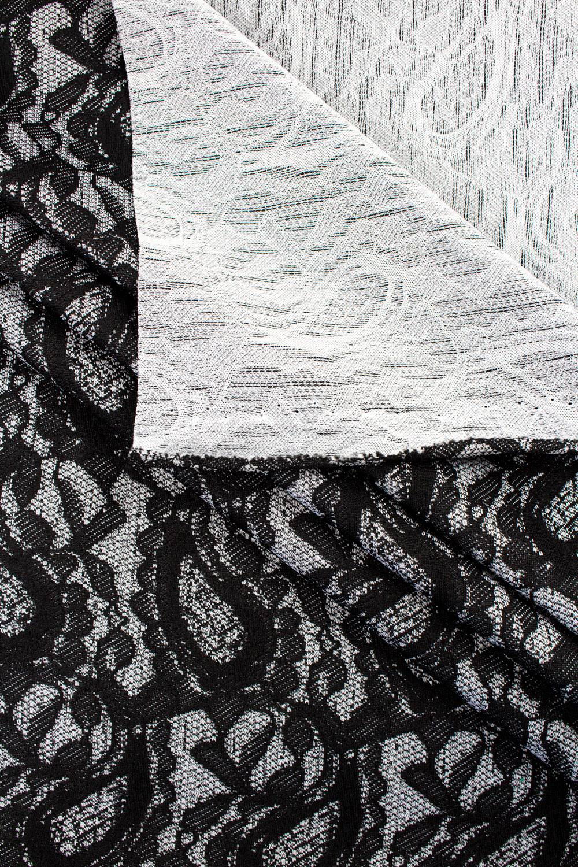 Dzianina żakardowa - szara z czarnym wzorem - 160cm 150g/m2