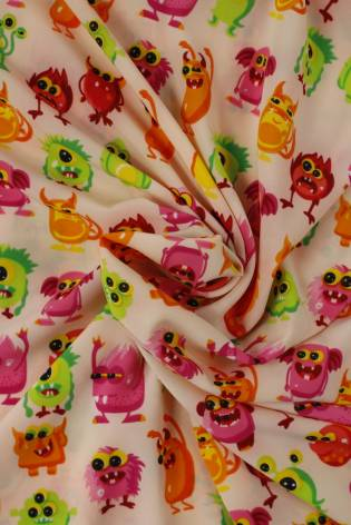 Knit - Silky - Pink With Monsters - 2 rm (Pre-cut) thumbnail