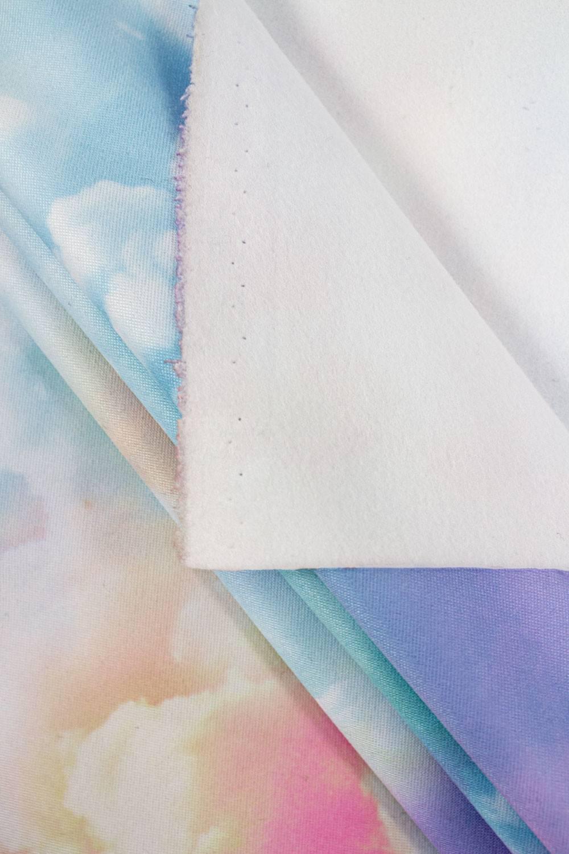 Dresówka drapana poliestrowa - kolorowe chmurki - 140cm 270g/m2