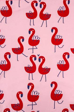 Knit - Jersey - Pink With Red Flamingos - 185 cm - 165 g/m2 thumbnail