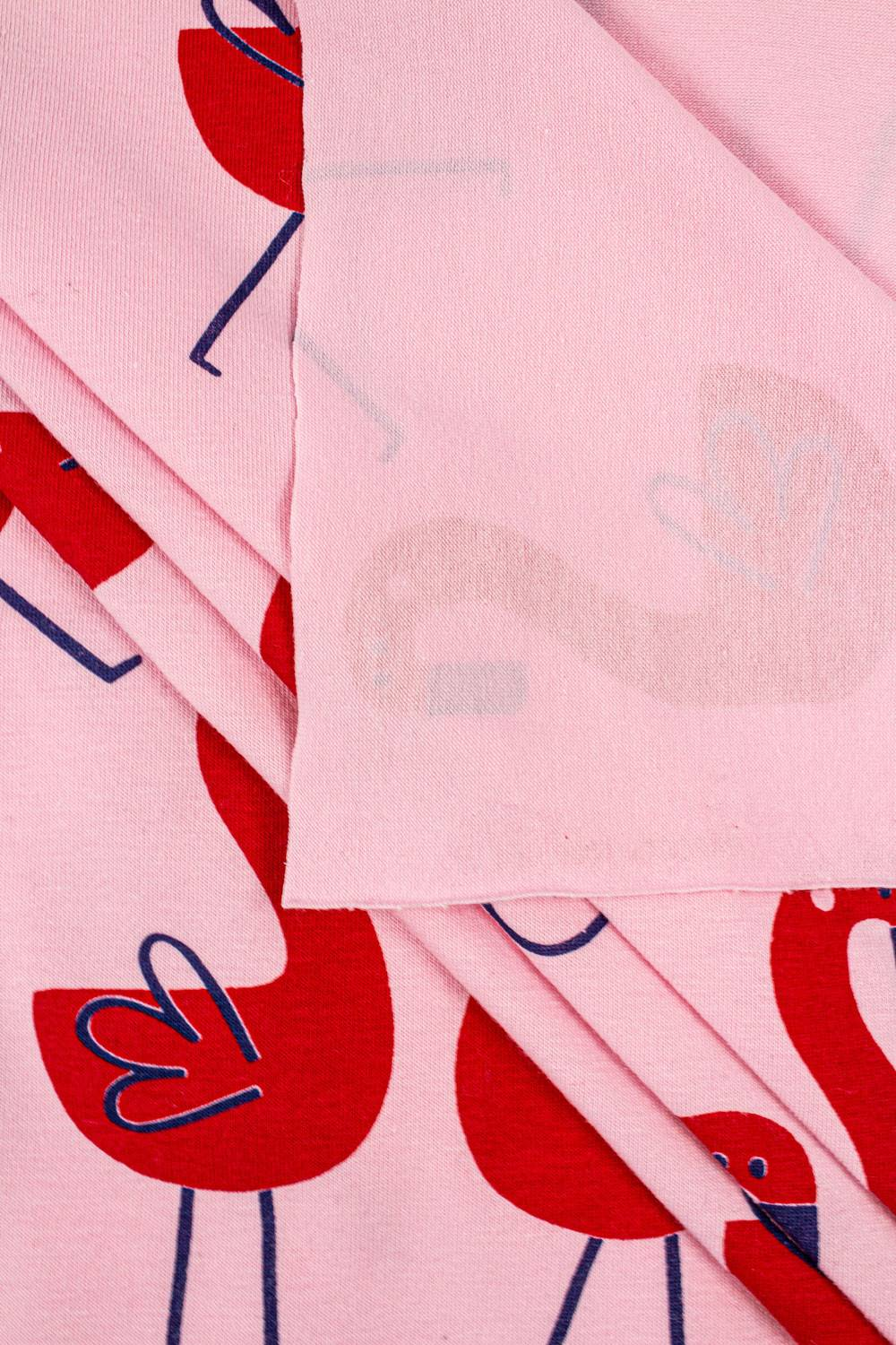Knit - Jersey - Pink With Red Flamingos - 185 cm - 165 g/m2