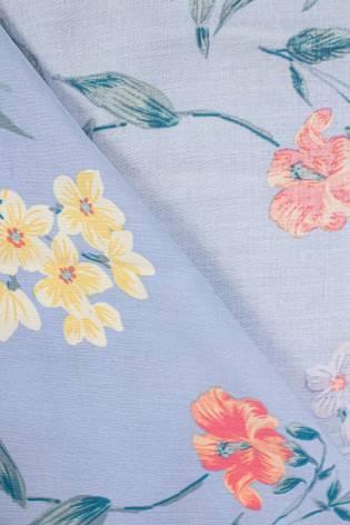 Fabric - Viscose - Light Blue With Flowers - 140 cm - 130 g/m2 thumbnail