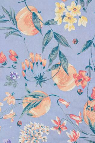 Tkanina wiskozowa - błękitna w kolorowe kwiaty -  140cm 130g/m2 thumbnail