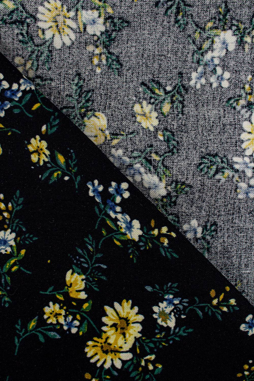 Fabric - Viscose - Black With Yellow Flowers - 140 cm - 130 g/m2