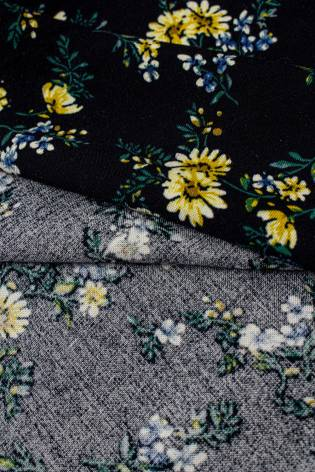 Fabric - Viscose - Black With Yellow Flowers - 140 cm - 130 g/m2 thumbnail