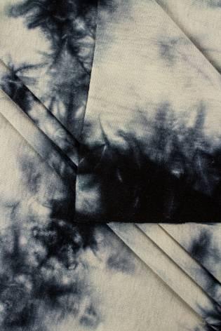 Dzianina jersey bawełniany beżowo-czarny tie-dye - 70cm/140cm 200g/m2 thumbnail