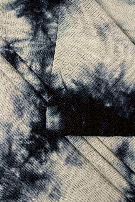 Dzianina jersey bawełniany beżowo-czarny tie-dye - 70cm/140cm 200g/m2