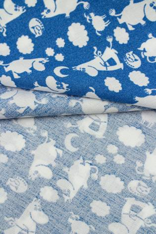 Fabric - Viscose - Blue With White Moomins Pattern - 140 cm - 130 g/m2 thumbnail