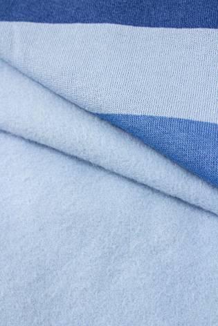 Dresówka drapana - błękitna z niebiesko-granatowymi pasami - 175cm 275g/m2 thumbnail