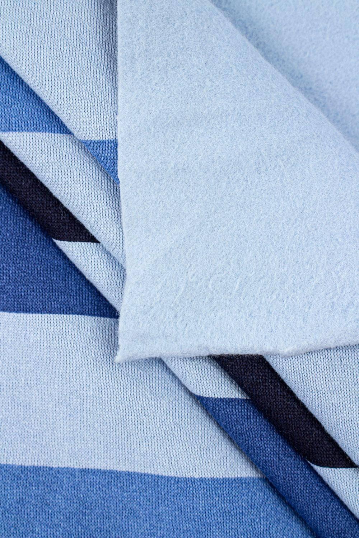 Dresówka drapana - błękitna z niebiesko-granatowymi pasami - 175cm 275g/m2