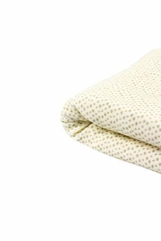 Dzianina welurowa w  brązowe kropki - pasetelowy zółty - 170cm 270g/m2 thumbnail