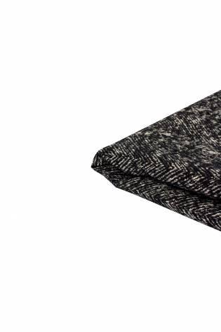 Tkanina wełniana płaszczowa - czarno-beżowa - 150cm 360g/m2 thumbnail