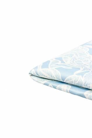 Gruby nurek z nadrukiem białe kwiaty na błękitnym tle 160cm 440g/m2 thumbnail