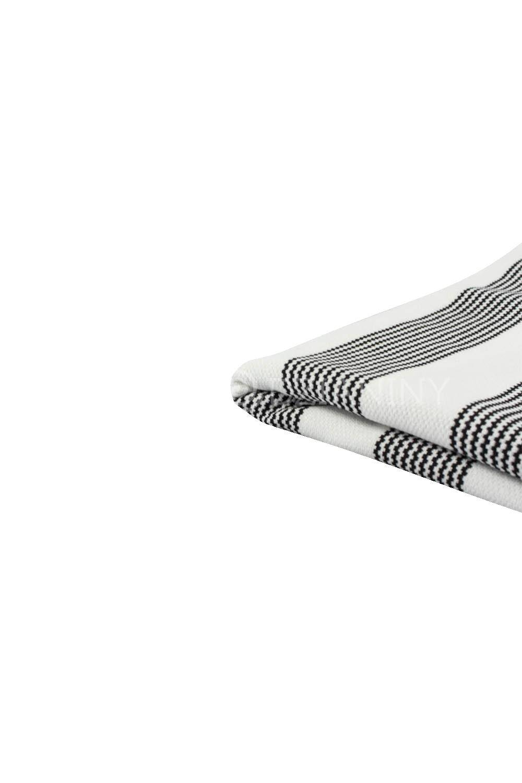Knit - Viscose Jacquard - White With Black Stripes - 145 cm - 400 g/m2