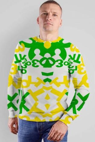 Knit - Sweatshirt Fleece - White With Green & Yellow Writing - 170 cm - 320 g/m2 thumbnail