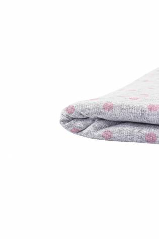 Knit - French Terry - Grey Melange With Pink Polka Dots - 180 cm - 150 g/m2 thumbnail