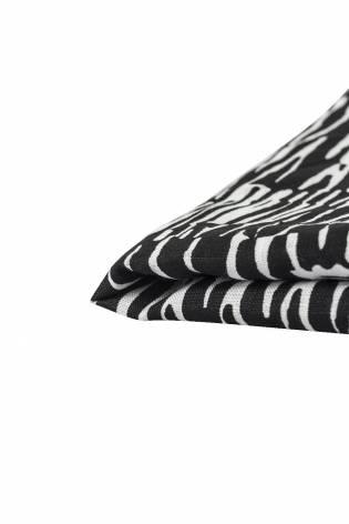 Tkanina lniana - biało-czarne maziaje -  145cm 325g/m2 thumbnail