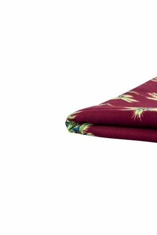 Fabric - Viscose - Burgundy With Leaves - 140 cm - 130 g/m2 thumbnail
