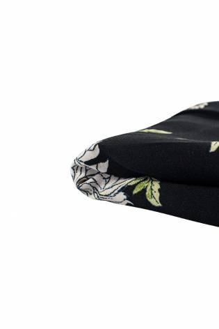 Fabric - Viscose - Black With Red & White Flowers - 140 cm - 130 g/m2 thumbnail