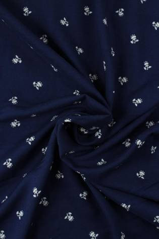 Fabric - Viscose - Navy Blue With White Flowers - 2 rm (Pre-cut) thumbnail