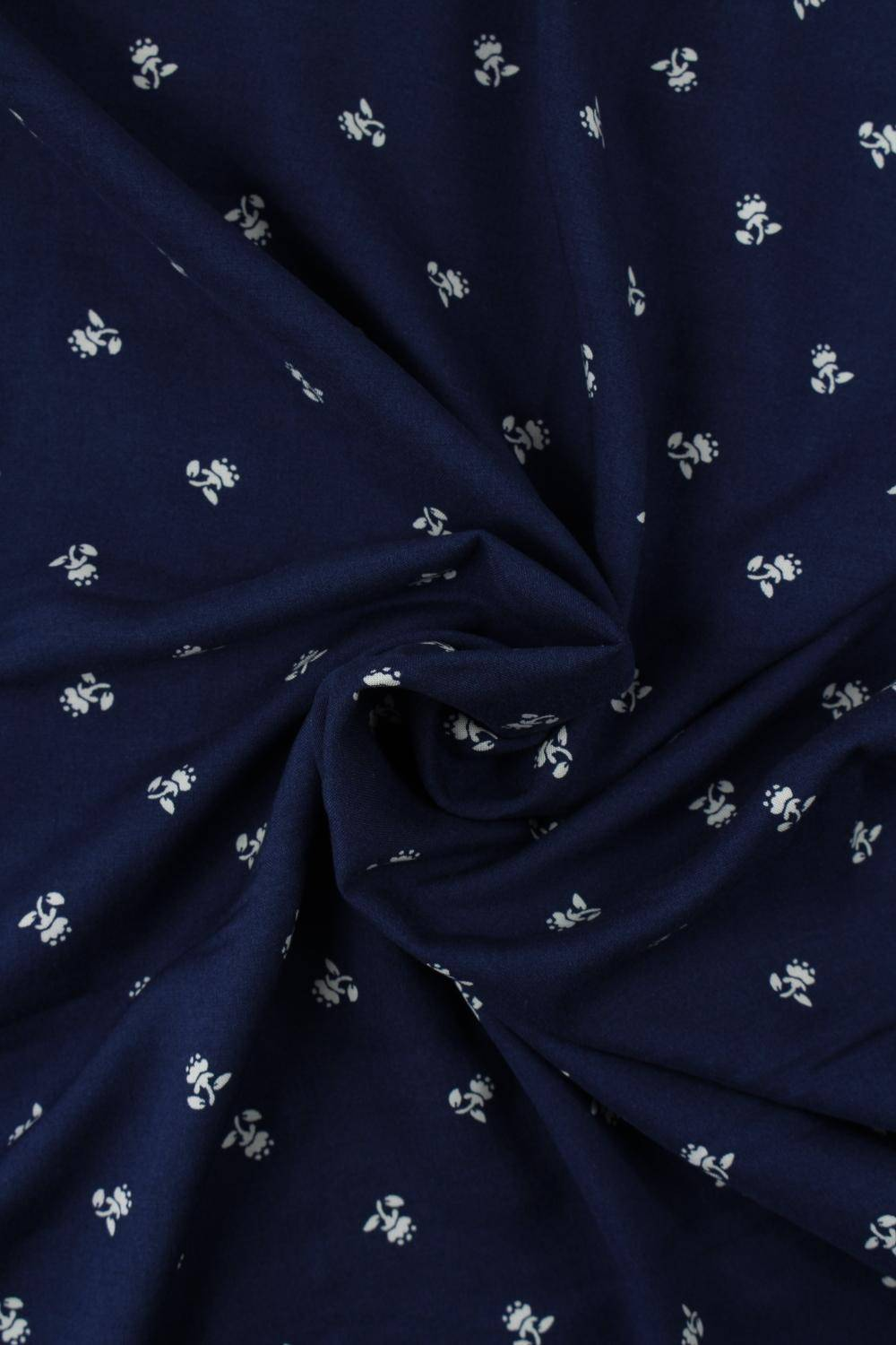 Fabric - Viscose - Navy Blue With White Flowers - 2 rm (Pre-cut)