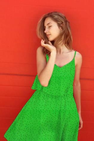 Dzianina jersey wiskozowy - zielony w drobne grochy  - 160cm 200g/m2 thumbnail