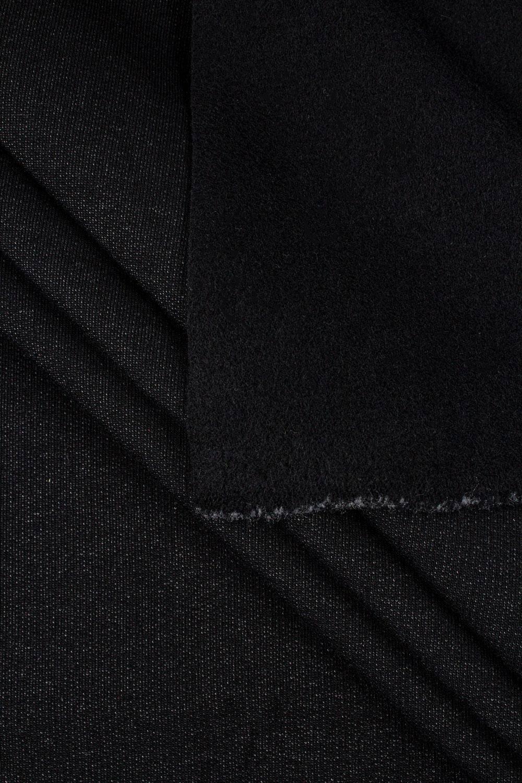 Dzianina dresówka drapana - czarny melanż - 165cm 330g/m2