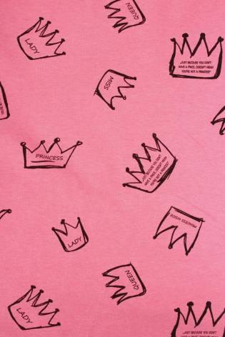 Dresówka pętelka różowy melanż korony KUPON 2 MB thumbnail