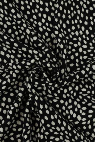 Tkanina wiskozowa czarna białe ciapki KUPON 2 MB thumbnail