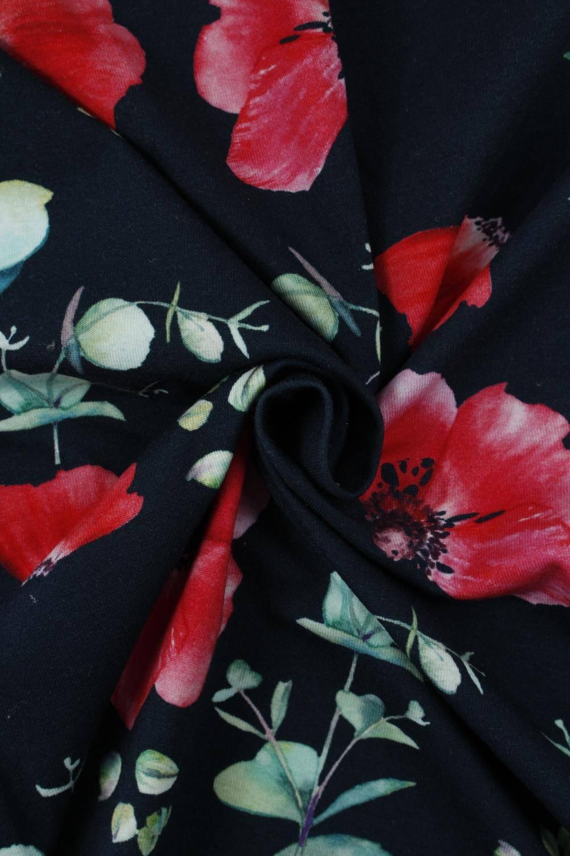 Dzianina jersey czarny czerwone kwiaty KUPON 2 MB