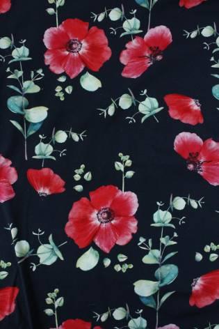 Dzianina jersey czarny czerwone kwiaty KUPON 2 MB thumbnail
