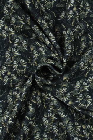 Dresówka pętelka czarna motyle KUPON 2 MB thumbnail
