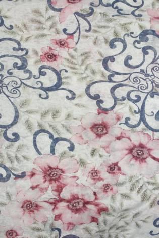 Knit - Jersey - Pink Flowery Pattern - 2 rm (Pre-cut) thumbnail