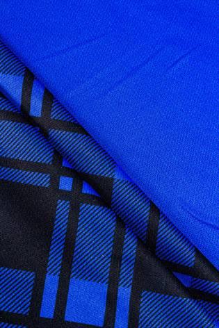 Dzianina poliestrowa sukienkowa niebieska z nadrukiem sublimacyjnym - krata - 160cm 150g/m2 thumbnail