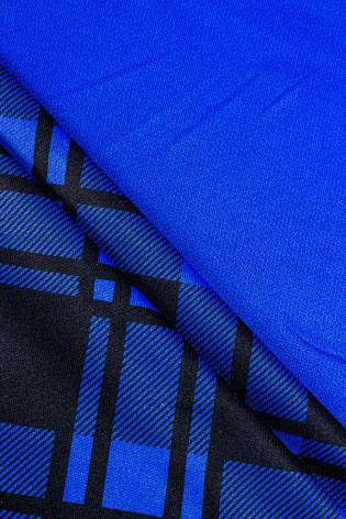 Polyester dress fabric blue with sublimation printing - 160cm 150g / m2 thumbnail