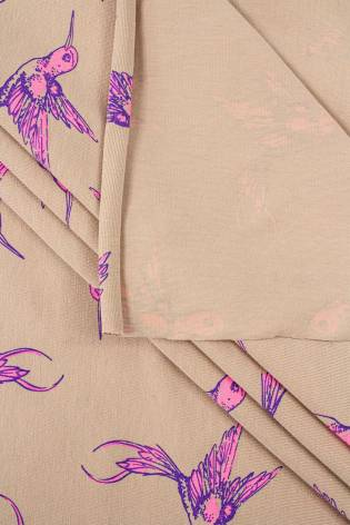 Knit - Viscose Jersey - Beige With Hummingbird Pattern - 175 cm - 160 g/m2 thumbnail
