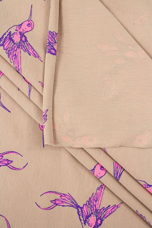 Dzianina jersey beżowy - różowe kolibry - 175cm 160g/m2