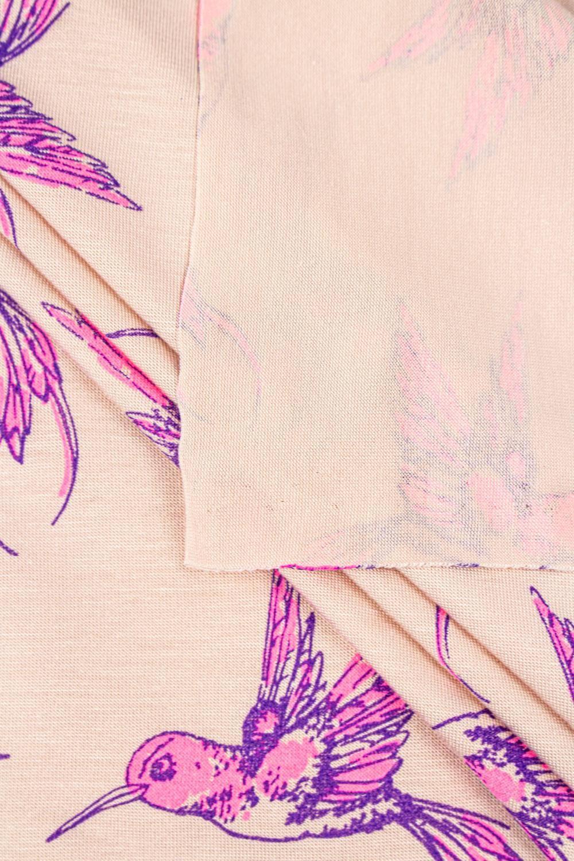 Dzianina jersey pudrowy - różowe kolibry - 170cm 150g/m2