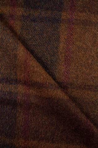 Tkanina wełniana z okrywą - karmelowa w kratę - 155cm 350g/m2 - 1