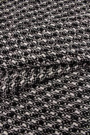 Fabric - Wool Duffle Fleece - Black & White Checkered Pattern - 155 cm - 440 g/m2 thumbnail