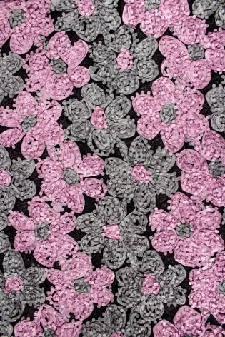 Tkanina koronka róże 3D - szaro-różowa - 130cm 180g/m2 thumbnail